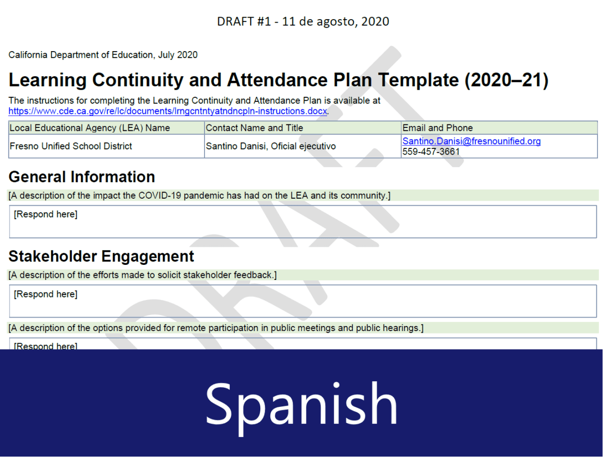 Learning Continuity and Attendance Plan - Spanish Cover
